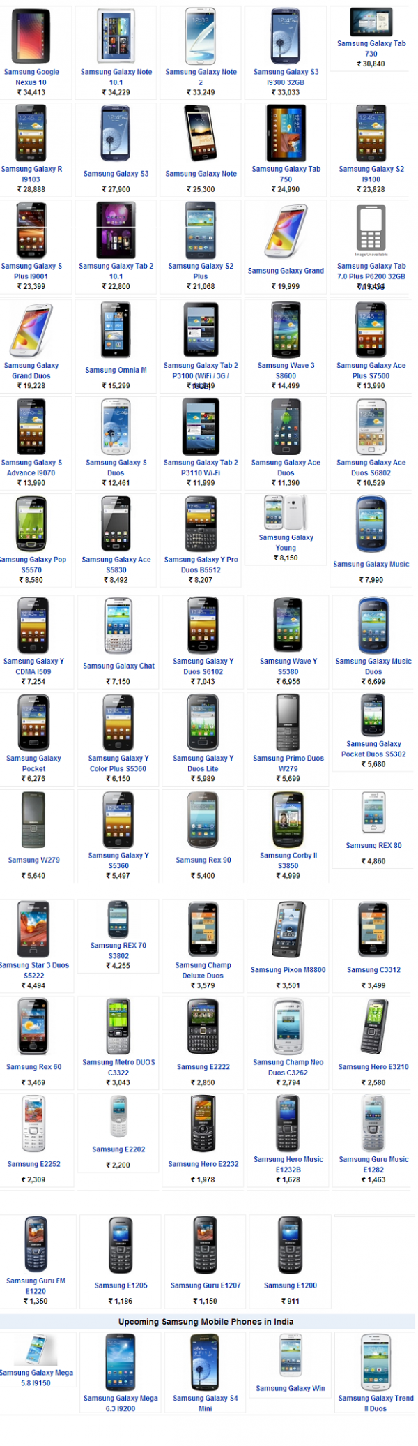 samsung mobile features list